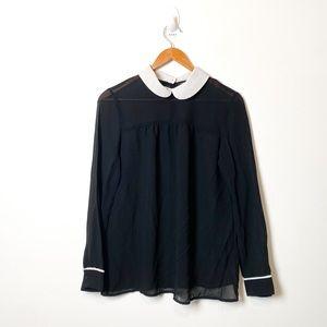 Zara B&W Sheer Collared Preppy Blouse Button Up